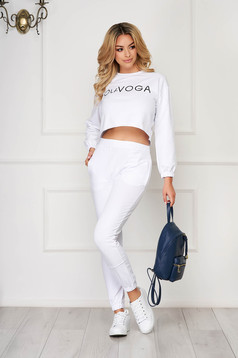 White sport 2 pieces from two pieces with trousers cotton sporty