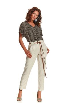 Cream trousers casual straight linen with pockets