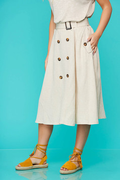 Cream skirt casual midi cloche linen with button accessories