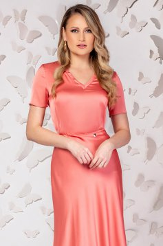 Office short cut flared short sleeve coral women`s blouse
