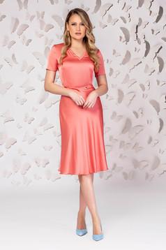 Coral skirt elegant midi cloche from satin