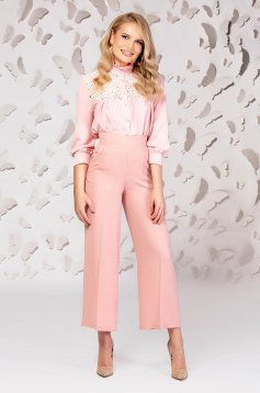 Lightpink trousers high waisted flaring cut slightly elastic fabric