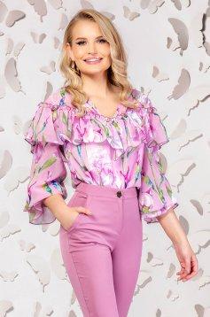 Bluza dama PrettyGirl roz eleganta cu croi larg din material subtire cu volanase