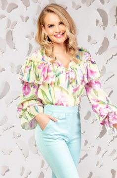 Yellow elegant flared women`s blouse thin fabric with ruffle details
