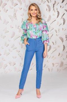 Pantaloni PrettyGirl albastri eleganti cu un croi drept cu talie medie cu buzunare