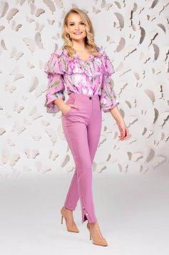 Lightpink trousers elegant straight medium waist with pockets