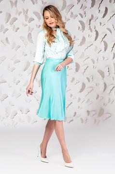 Turquoise skirt elegant midi cloche from satin
