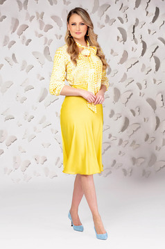 Yellow skirt elegant midi cloche from satin