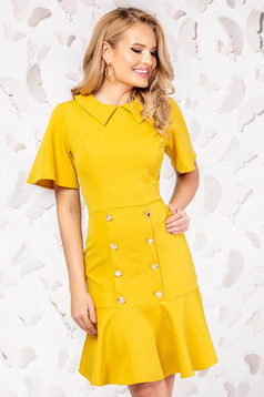 Yellow dress elegant cloche short cut with button accessories large sleeves