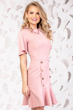 Lightpink dress elegant cloche short cut with button accessories large sleeves
