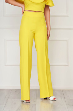 StarShinerS yellow trousers elegant flared cloth from elastic fabric long