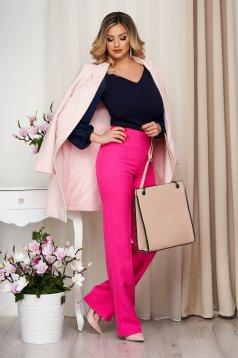 Pantaloni StarShinerS fuchsia eleganti lunga evazati din stofa din material elastic