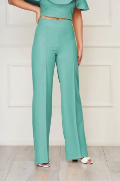StarShinerS green trousers elegant flared cloth from elastic fabric long