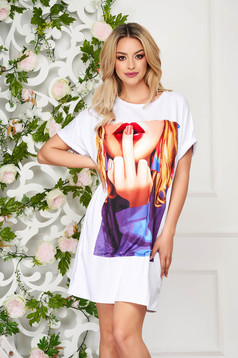 White dress daily short cut cotton with graphic details