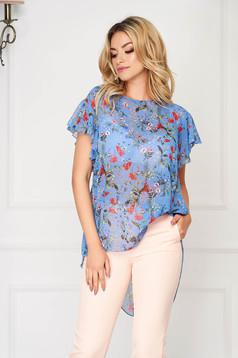 Bluza dama StarShinerS albastra eleganta asimetrica din voal cu croi larg