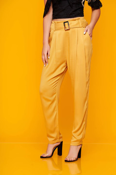Yellow trousers casual high waisted with easy cut thin fabric