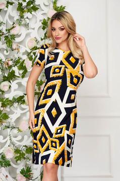 StarShinerS black dress elegant midi straight thin fabric short sleeves