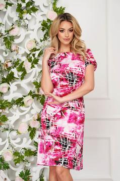 StarShinerS pink dress elegant midi straight thin fabric short sleeves