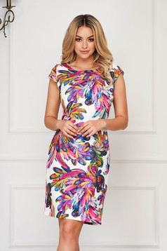 StarShinerS white dress elegant short cut thin fabric short sleeves
