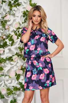 StarShinerS darkblue dress daily straight thin fabric short cut