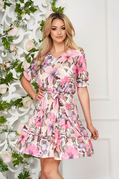 StarShinerS pink dress daily short cut thin fabric with floral print