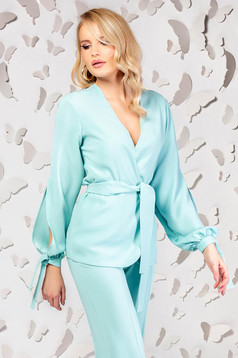 Turquoise elegant flared jacket with v-neckline and cut-out sleeves