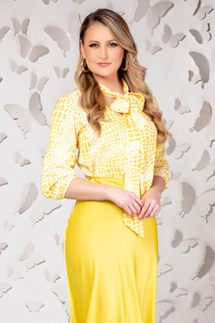 Yellow women`s blouse elegant flared from satin with 3/4 sleeves