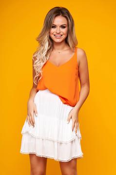 Top SunShine portocaliu casual din voal cu croi larg si bretele