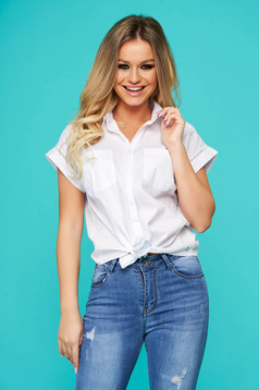 White women`s shirt casual short cut flared cotton with pockets