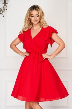 Rochie StarShinerS rosie eleganta midi din voal triplu cu decolteu adanc