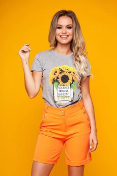 Tricou SunShine gri casual cu croi larg si imprimeu grafic cauciucat