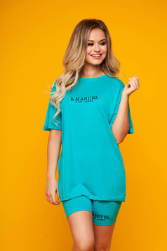 Turquoise tracksuits with trousers cotton with tented cut