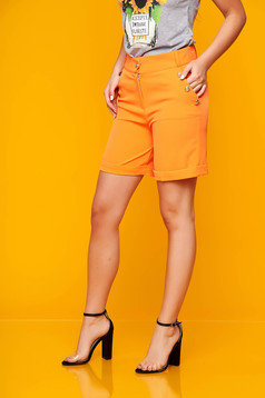 Orange short casual tented cloth with pockets from elastic fabric