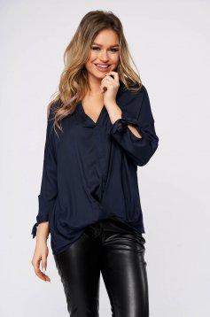 Bluza dama Top Secret albastru-inchis casual cu croi larg si decolteu in v
