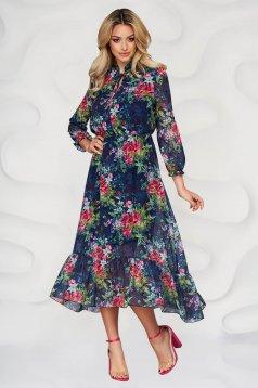 Darkblue dress elegant midi cloche from veil fabric with floral print