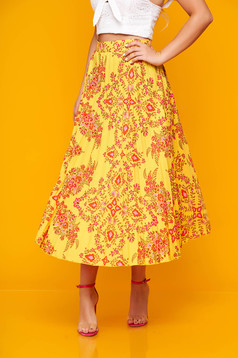 Yellow skirt casual midi cloche folded up from veil fabric