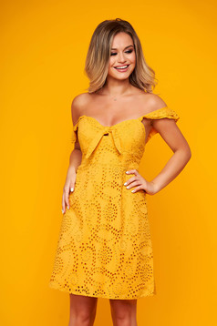 Yellow dress daily short cut cotton frilly straps