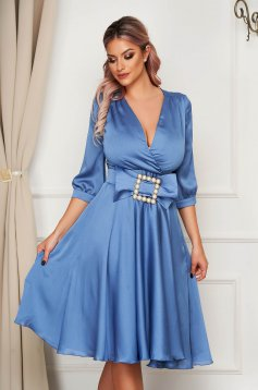Blue dress elegant midi cloche from satin buckle accessory