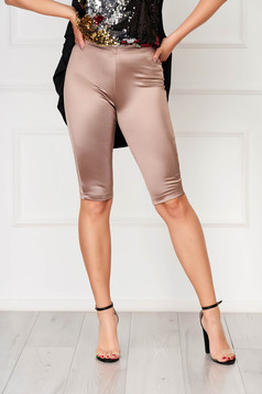 Tights StarShinerS cappuccino casual stretch from satin medium waist