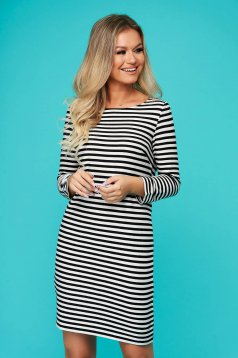 White dress casual straight long sleeved with stripes