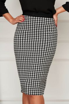 Skirt StarShinerS black casual midi cloth from elastic fabric without clothing