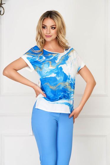 Bluza dama StarShinerS albastra eleganta asimetrica cu croi larg din voal cu imprimeu creat in atelierele StarShinerS
