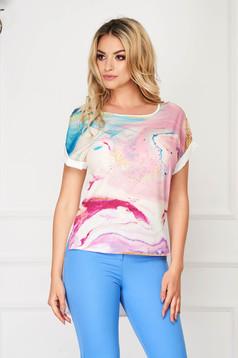 Bluza dama StarShinerS alba eleganta asimetrica cu croi larg din voal cu imprimeu creat in atelierele StarShinerS