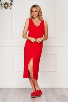 Red midi daily StarShinerS flared sleeveless dress
