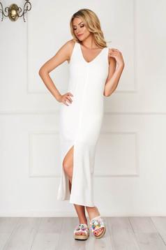 White midi daily StarShinerS flared sleeveless dress
