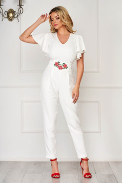 StarShinerS white jumpsuit occasional arched cut slightly elastic fabric accessorized with tied waistband embroidered