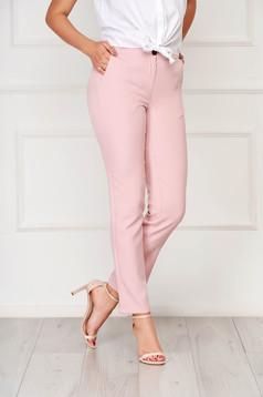 Pantaloni SunShine roz office din stofa cu un croi drept cu buzunare