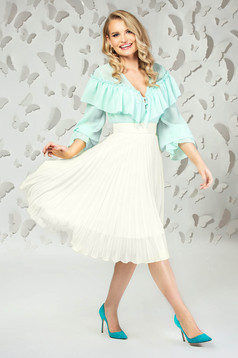 White elegant midi cloche skirt from veil fabric folded up with inside lining