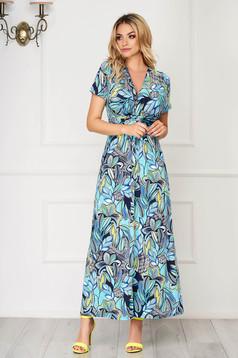 Rochie albastru aqua lunga de zi din material subtire cu decolteu in v