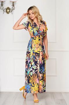 StarShinerS orange dress long daily thin fabric with v-neckline